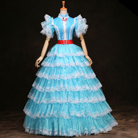 2018 Blue and White Stand Collar Mesh Dance Party Princess Dress 18th Century Rococo Baroque Ball Gowns Costume Drop Shipping