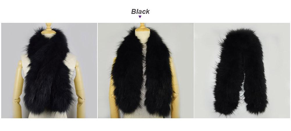 knit fox fur scarf color black