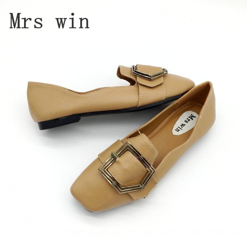 15d6dfd7b A senhora deputada Win 2017 Mulher Sapatos Flats Deslizar Sobre As Mulheres  Do Dedo Do Pé Quadrado Sapatos Único sapatas Das Senhoras Macio Calçado  Zapatos ...