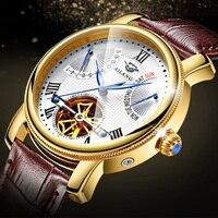 Luxury Gold Case Men Tourbillon Mechanical Watches Self winding Roman Watch Genuine Leather Male Dress Wristwatch Multi function