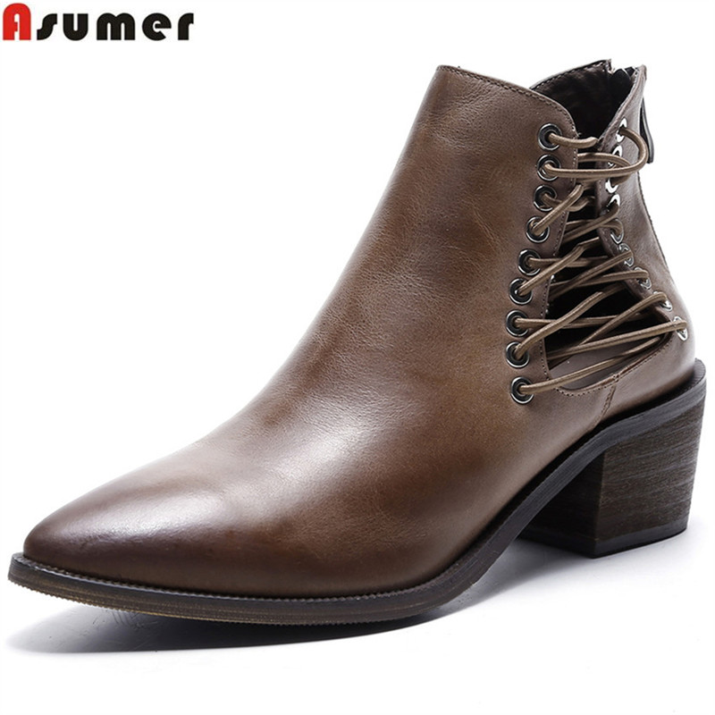 ASUMER fashion genuine leather women boots pointed toe zipper criss tied ladies boots cow leather ankle boots square heel asumer black white fashion new women boots pointed toe genuine leather boots zipper cow leather ankle boots low heel shoes