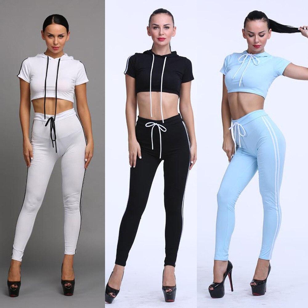 Leisur White Black Solid Color font b Women s b font Sports Suit Tracksuits 2016 Off