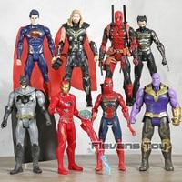 DC Marvel мстители Супер Герои Бэтмен Супермен Тор танос человек паук Дэдпул Железный человек Росомаха фигурки героев игрушечные лошадки