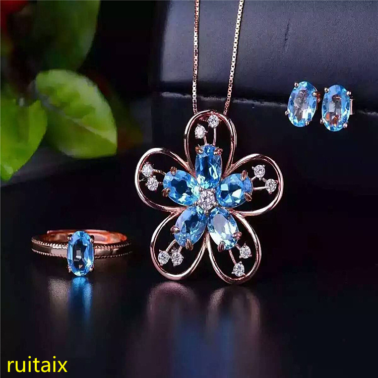 KJJEAXCMY boutique jewels 925 sterling silver inlaid with blue topaz ring + pendant + earrings necklace jewelry set with silver KJJEAXCMY boutique jewels 925 sterling silver inlaid with blue topaz ring + pendant + earrings necklace jewelry set with silver