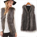 Vintage Woman Trendy Celeb Faux Fur Slim Waistcoat Vest Jacket Vest Coat Tops
