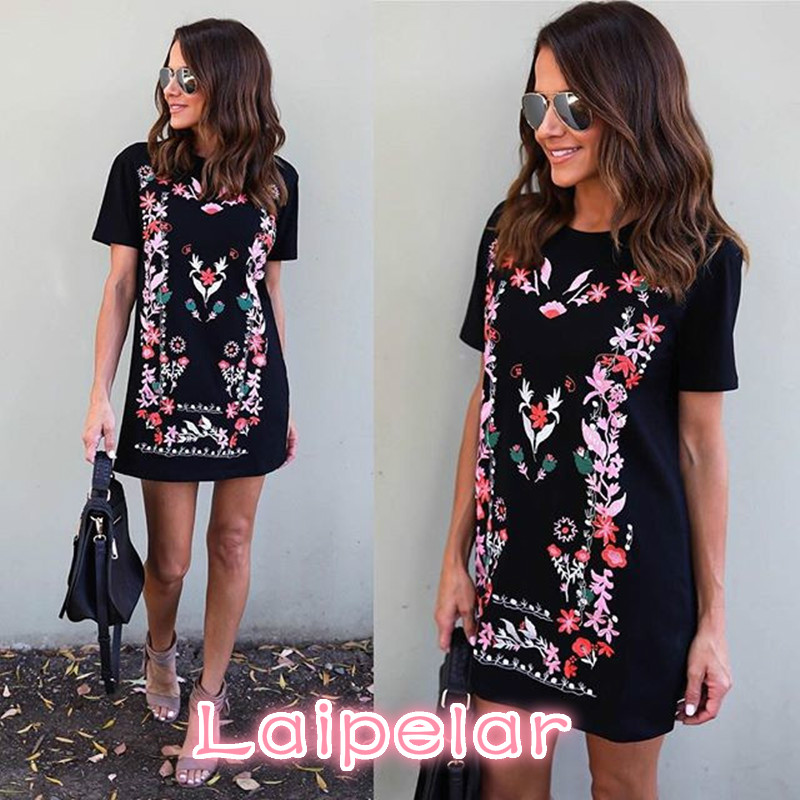Ladies Summer Mini Dresses Women Work Wear Floral Print Sundress Round Neck Short Sleeve Office T Shirt Dress Vestidos XL in Dresses from Women 39 s Clothing
