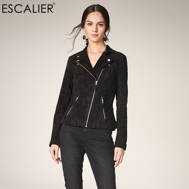 Escalier 2017 Fashion pig split Leather   Jacket   Women Zipper Slim Motorcycle Outerwear Coats Genuine Leather   Basic     Jackets