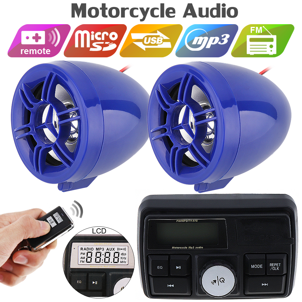 Motorcycle Audio Sound System Stereo Speakers FM Radio Sound System Accessories Waterproof Motor MP3 Music PlayerMotorcycle Audio Sound System Stereo Speakers FM Radio Sound System Accessories Waterproof Motor MP3 Music Player