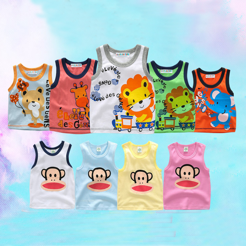 1-2Yrs Summer Baby Sleeveless Vest Cotton Baby Boy Sleeveless T-shirts Baby Girl Cartoon Vest Summer Tees Shirts Free Shipping