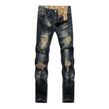 2016 new style hole patch beggars slim men jeans pants men's denim straight trousers 28-38 YQ928