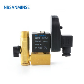 NBSANMINSE SR - A - 15 Electronic Drain Valve G 1/2  1.6Mpa Exhaust Valve Water Drainer Water Valve DC24V AC220V High Quality цена 2017