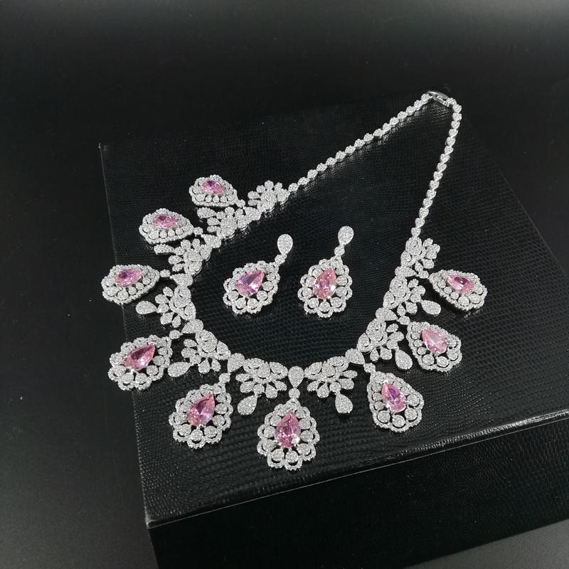 2019 nouvelle mode luruxy rose CZ zircon collier boucle d'oreille bracelet anneau ensemble de bijoux de mariage mariée banquet dressing ensemble de bijoux - 5