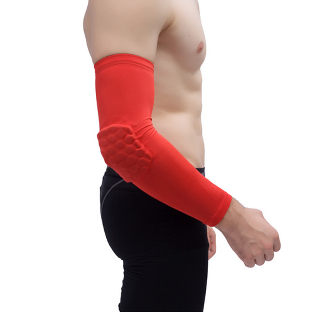 Men's Arm Warmers Honeycomb Pad Crashproof Antislip Basketball Arm Hand Long Sleeve Protector Gear