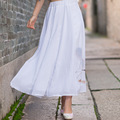 Large Size 2016 Fashion Spring Summer Women White Printed Cotton Linen Long Skirts Art Style Casual Skirt