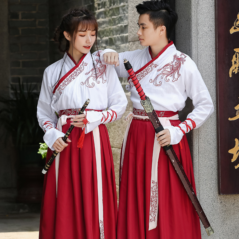 Hanfu Men's And Women's Martial Arts Style Couples Set Students Han Element Graduation Class Service Daily Cosplay Costume