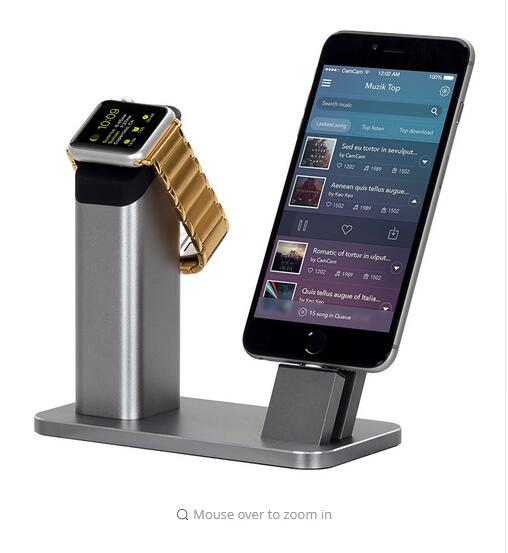 Aluminium Stand Holder Charging Dock Charger Station Mount Base For Apple Watch iPhone SE/5/5s/6/6S/7/PLUS for Apple Watch 1 2 colorful charging stand led dc 5v dual controllers charger stand fast charging dock station for ps4 controller