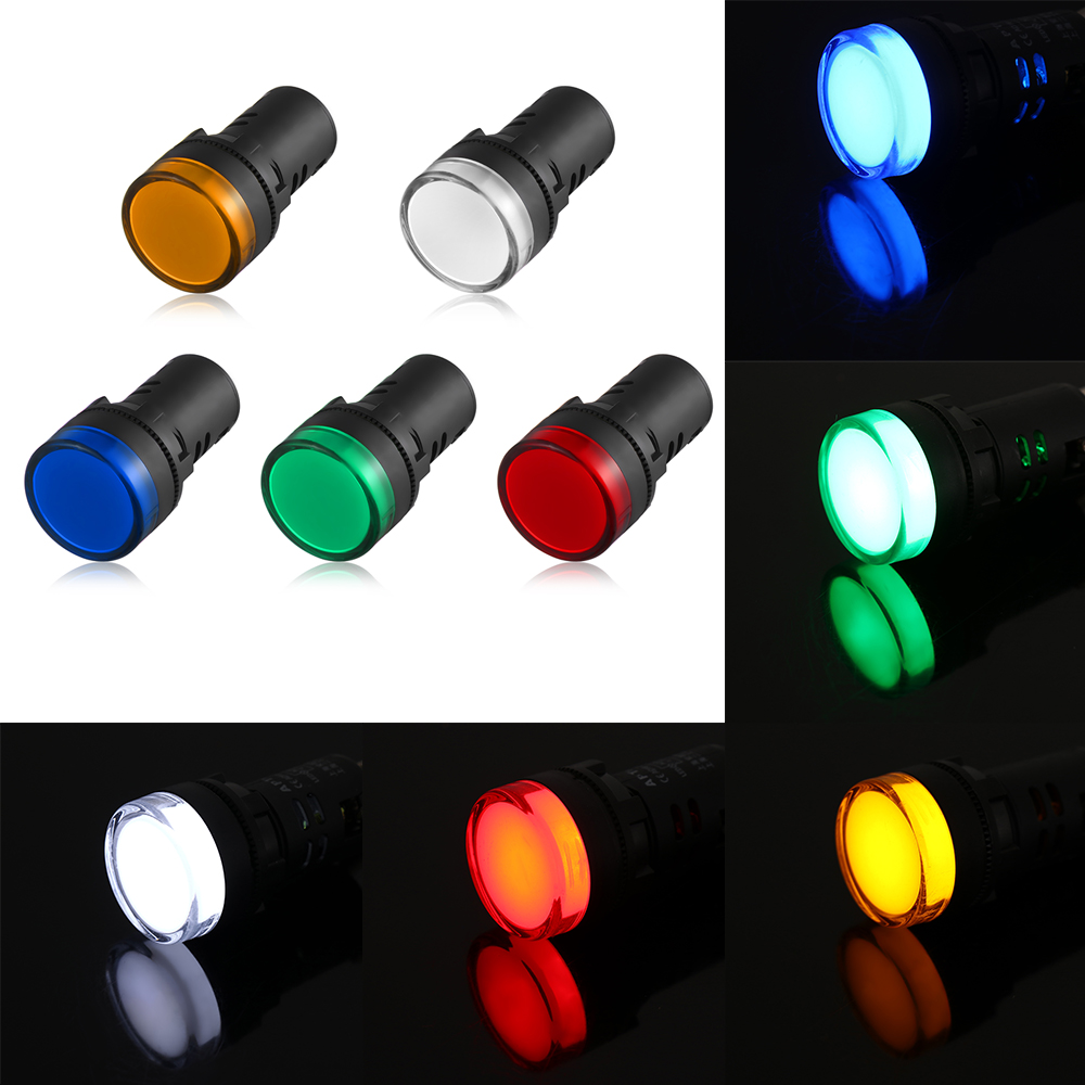 Green Pilot Light LED 22mm Indicator Warning Lamp Panel Mounting 220V