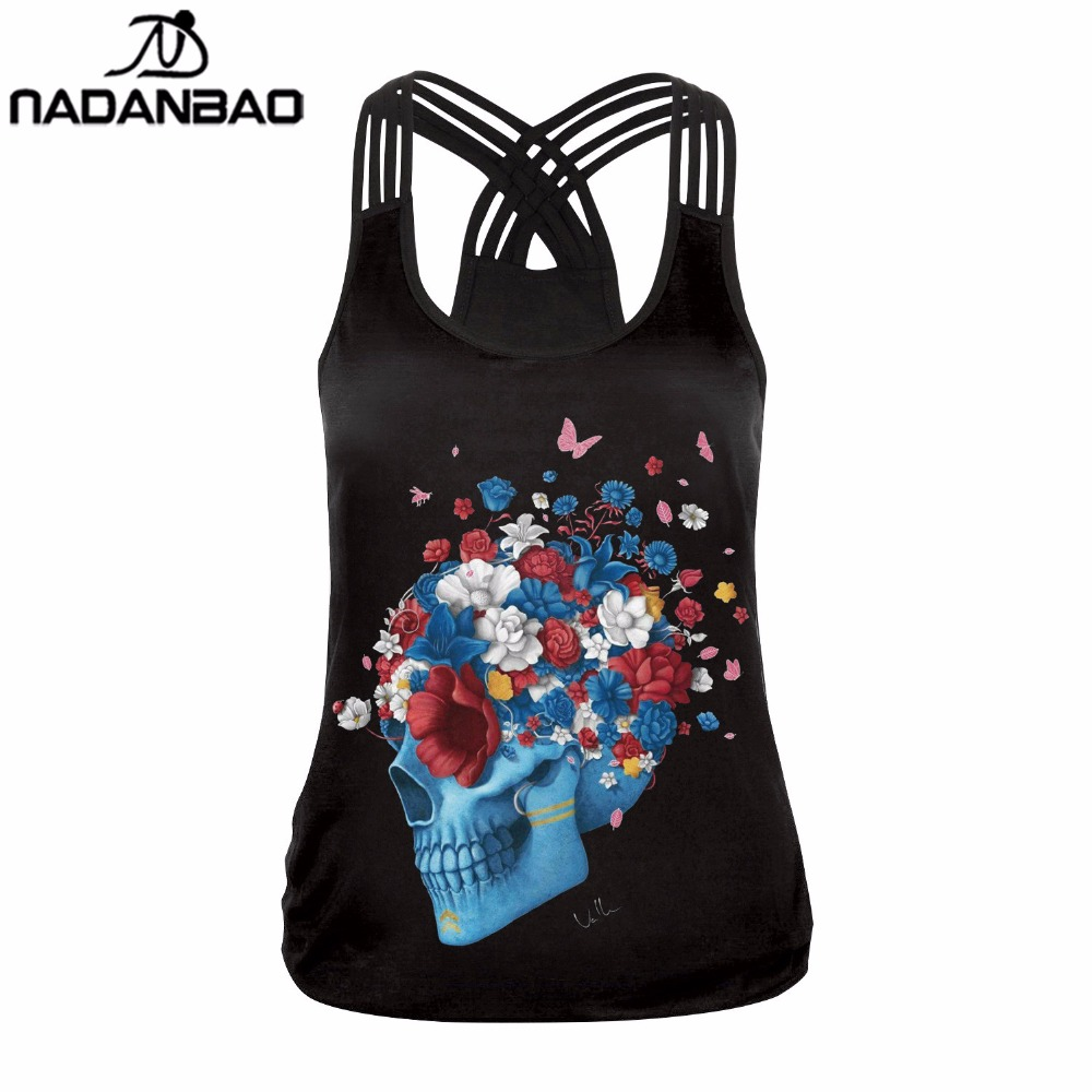 NADANBAO New Arrival Fashion Skull Head Women Tank Tops Sexy Flower Printed Top Sleeveless Cropped Woman Top Clothing