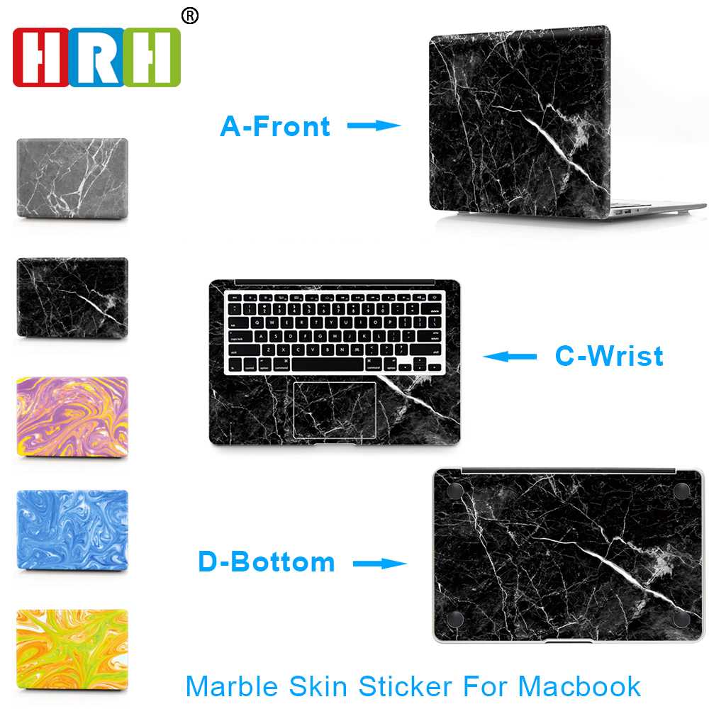 HRH 3 in 1 Marble Design Laptop Decal Stickers Palm Rest Guard Skin Case For Macbook Air Pro Retina11 12 13 15 Protective Skin
