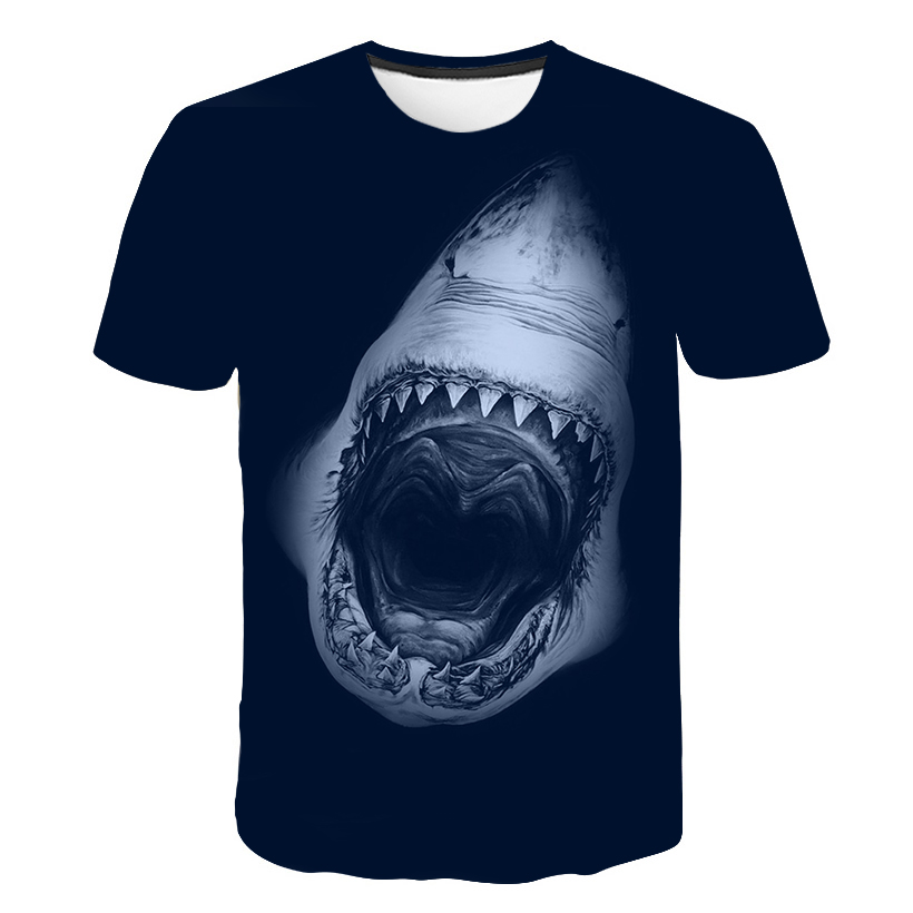 New Fashion Design Brand T-shirt 3D Print Great White Shark Figure Men's Casual Fitness Bodybuilding T-shirt Summer Men