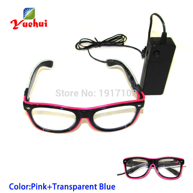 2017 New arrival 5 Trendy style Sound Activated Double color Glasses Powered By DC-3V EL Wire Cold Light Tube Crazy Party Decor
