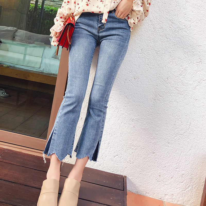 Mishow female Wide Leg Pants Spring 2019 women Washed Mid waist skinny trousers Autumn Denim Zipper slim casual   Jeans   MX18A2336