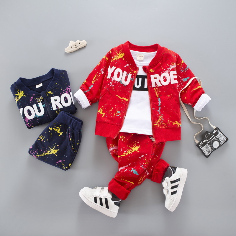 Fashion Baby Boys Girls Print Ink Clothing Suits Children Jacket T-shirt Pants 3Pcs Sets Autumn Kids Clothes Toddler Tracksuits spring newborn suits new fashion baby boys girls brand suits children sports jacket pants 2pcs sets children tracksuits