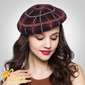 new winter high-end Plaid Wool Beret Hat painter pumpkin Hat Lady  elegant style British hat   B-0706