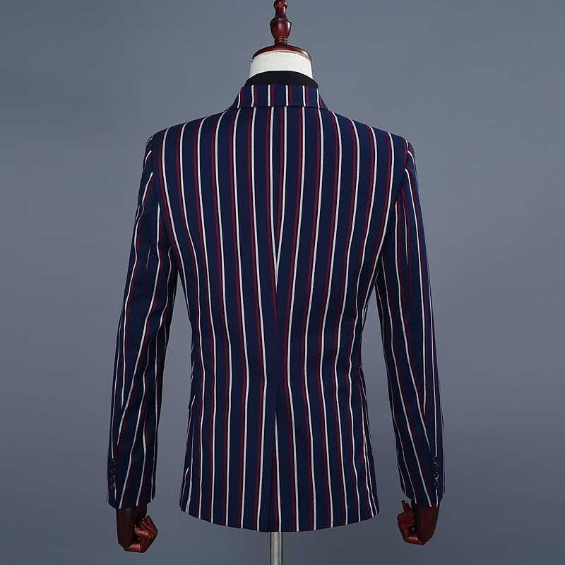 Pyjtrlブランドメンズファッションブルーストライプブレザーパンツツーピースの付添人のウェディングスーツメンズスーツ最新コートパンツのデザイン2018