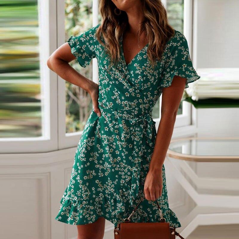 Women Dresses Summer 2019 Sexy V Neck Floral Print Boho Beach Dress Ruffle Short Sleeve A Line Mini Dress Wrap Sundress Robe