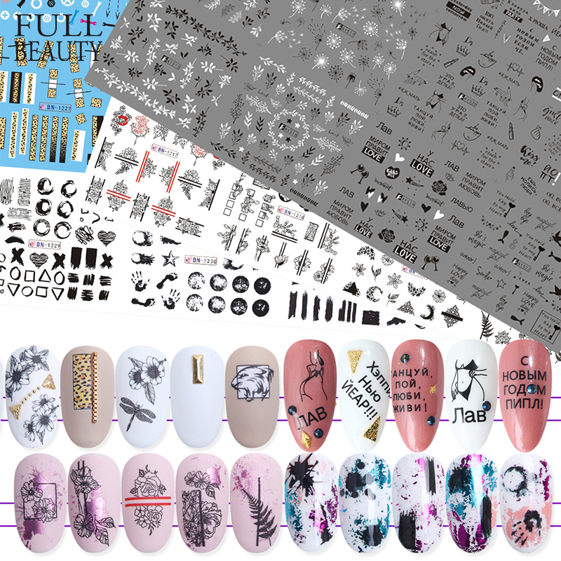 36pcs Mixed Letter Black Slider Nails Sticker Set Mixed Flower Water Transfer Decals Manicure Decorations Tips Nail Wraps CH974