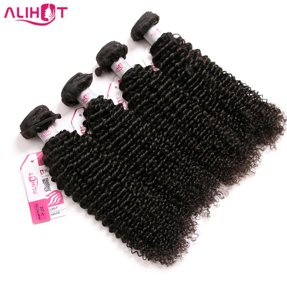 ALI HOT Hair 10-26 inch Natural Color Remy Hair bundles Peruvian Afro Kinky Curly Human Hair 4 Pieces Hair Weave Bundles