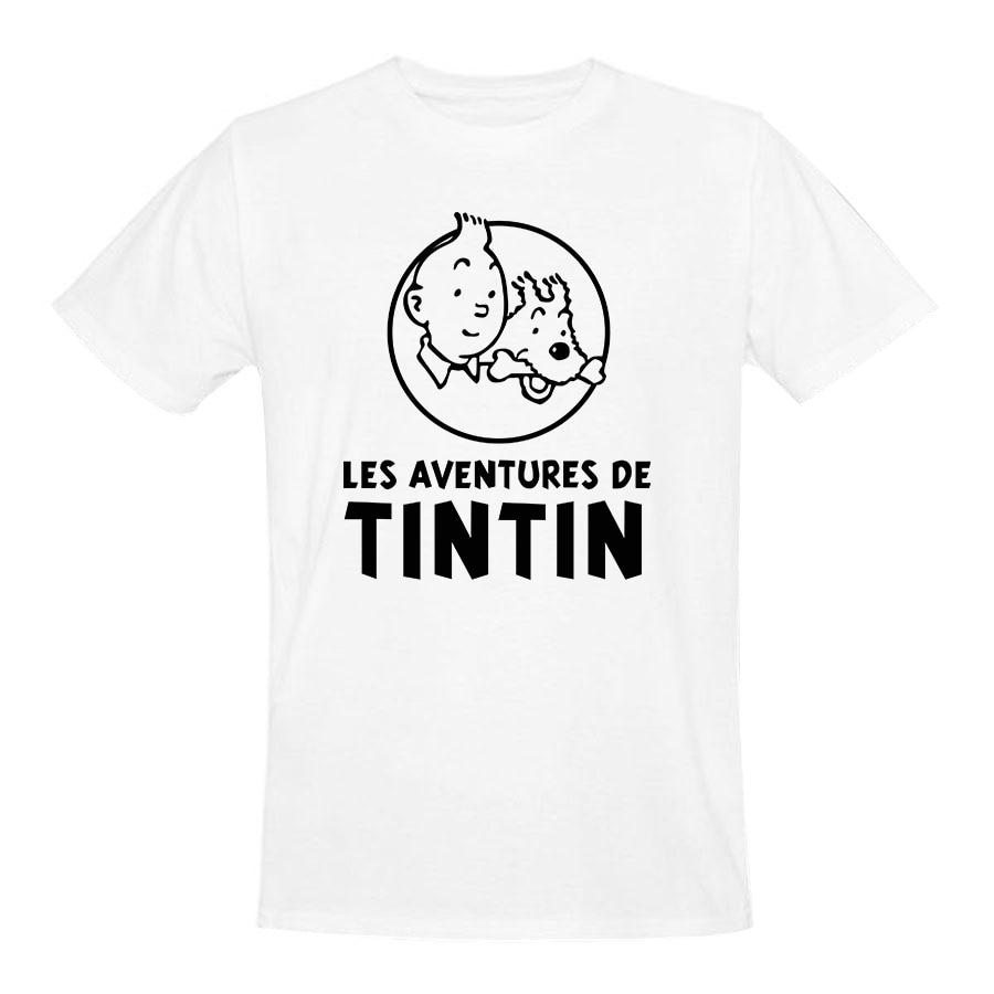 608d1c43456 Popular cartoon tintin men shirt vintage logo printed summer cotton male  tee shirts round neck vintage