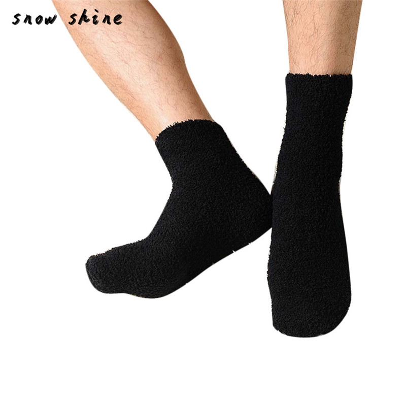 snowshine YLI Mens Thick Warm Coral Fleece Slipper Non-slip Cotton Socks Floor Towel free shipping