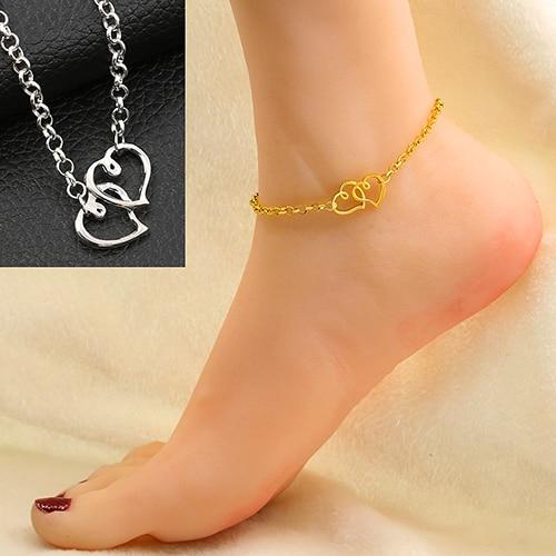 Women's Double Love Heart Chain Beach Sandal Ankle Bracelet Anklet Foot Jewelry  9QBQ
