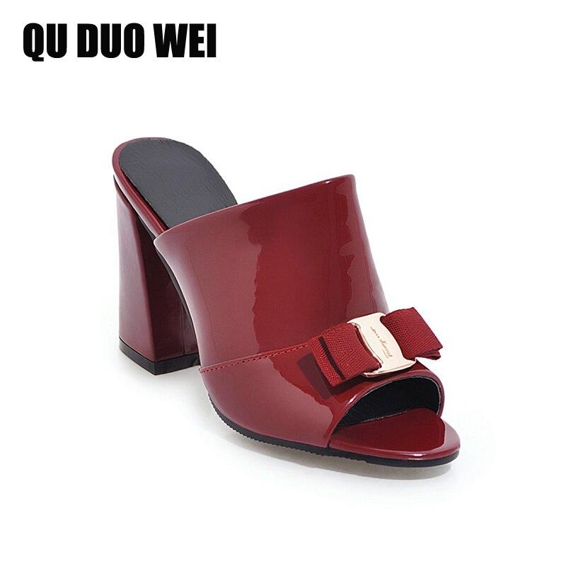 Bowtie 2018 Sandalias Cuadrado Altos Nuevas Mujer Moda Mujeres Dulce Zapatos black Con Beige Peep Zapatillas wine Charol Tacones Toe Casual RrrFX