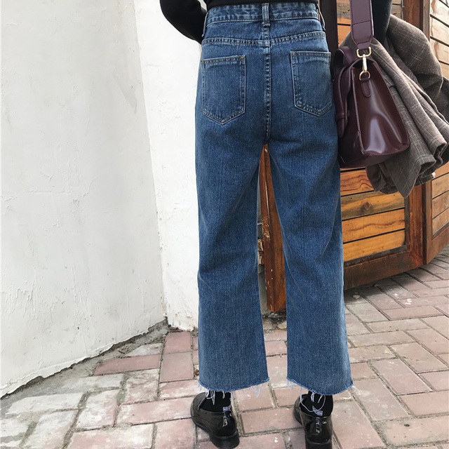 Jeans Denim Solid Tassel Lady Elegant Wide Leg Pant Ankle-length High Waist Womens Trousers Large Size Bottoms Basic Classic 4
