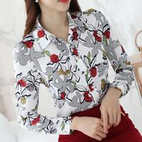 2017 Spring Floral Print Women Shirt fashion OL Long Sleeve Chiffon Blouse Blusas Femininas S178