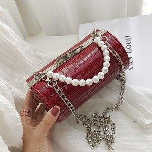 Image 3 - Stone Texture Cylindrical Pearl Handle Pu Fashion Casual Clutch Bag Ladies Shoulder Bag Handbag Women Crossbody Bag Female Bolsa