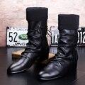 2017 Del Otoño Del Resorte Del Estilo Británico Nueva Moda Negro Tobillo Hombres Botas de Cuero Genuino Botas de Moto de Invierno de La Moda Botas Para Hombre