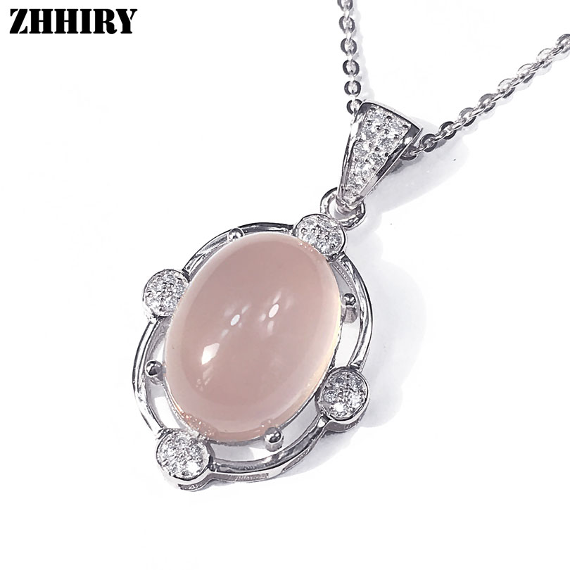 Natural Rose Quartz Real 925 Sterling Silver Pendant Necklace Gem Women Fine Jewelry Big Stone