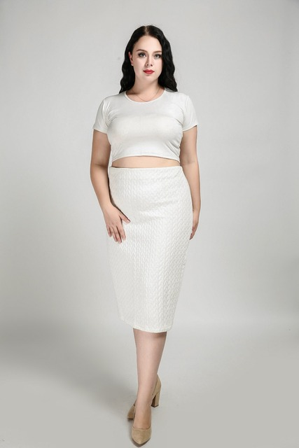 66f4fc36b26ad Women s Sexy Plus Size Formal Skirt High Stretchy Empire Waist Midi Skirt  White Work Office Pencil Skirt Autumn Winter Skirt 7XL