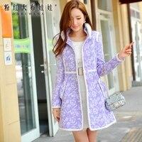 Оригинальный 2017 Зимняя куртка мода стоять воротник тонкий новый теплый светло фиолетовый печатных шерстяное пальто женские
