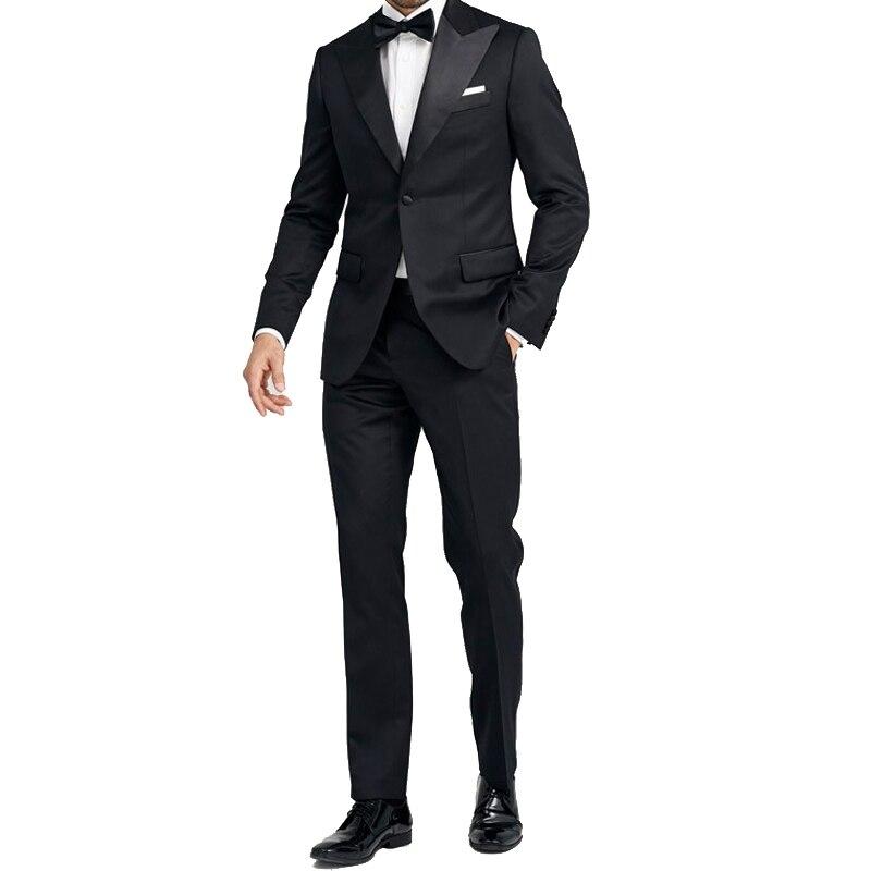 Shenrun sur mesure costumes pour hommes 2 pièces laine sur mesure costume noir Satin pic revers sur mesure costume hommes smoking personnalisé fournisseur