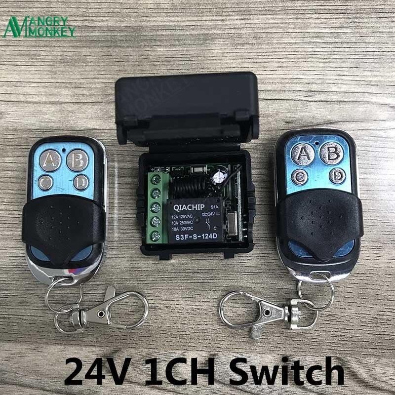 433 Mhz Universel Sans Fil Commutateur de Commande À Distance DC 24 V 1CH relais Récepteur Module et 2 pièces Émetteur 433 Mhz Télécommandes