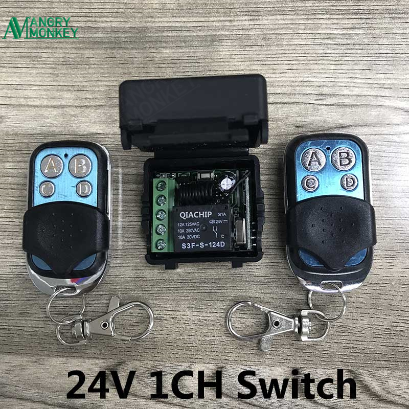 433Mhz Universal Wireless Remote Control Switch DC 24V 1CH relay Receiver Module and 2 pieces Transmitter 433Mhz Remote Controls
