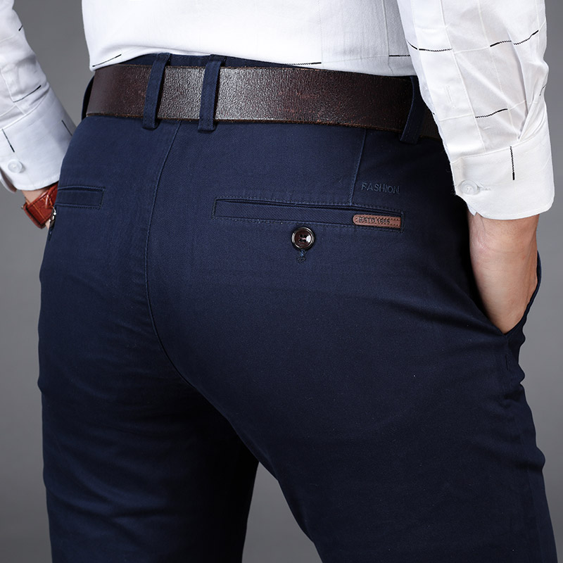 NIGRITY New Mens Casual Basic Pants Business Trousers Regular Straight Pocket Details Trousers Stretch Pants Male Big Size 42