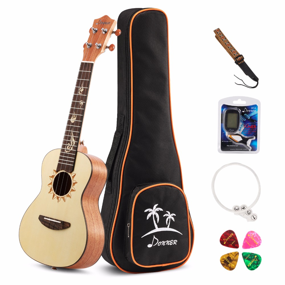 Donner 26 inch Spruce Tenor Ukulele with Ukulele Set Strap Nylon String Tuner ...