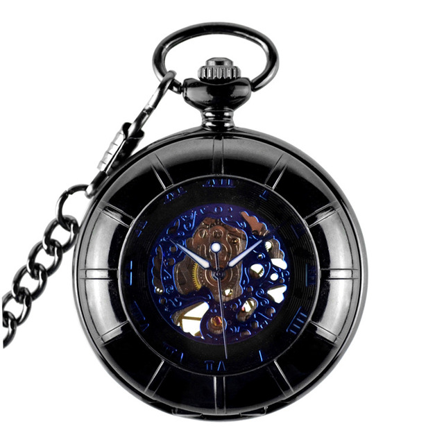 037748f310a Oco Esqueleto Preto Automático Relógio de Bolso Mecânico Vento Mão Relógio  Relógio das Mulheres dos homens