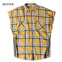 Side Zipper Chemises Pour Homme 2017 Summer Justin Bieber Shirt Men Oversize Hip Hop Plaid Sleeveless